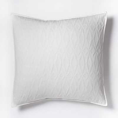 Organic Shadow Diamond Matelasse Euro Sham - Stone White - West Elm