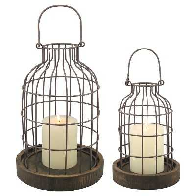 Set of 2 Weathered Metal Cloches with Wood Base - Target
