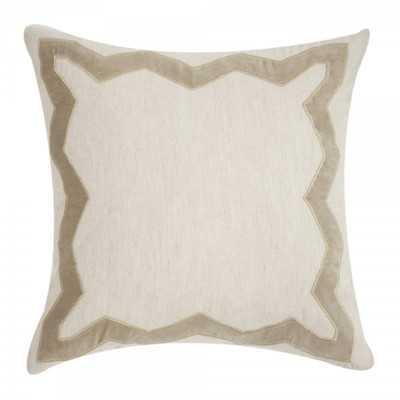 """Applique Linen Throw Pillow - 20""""sq. - Down/Feather fill - Wayfair"""