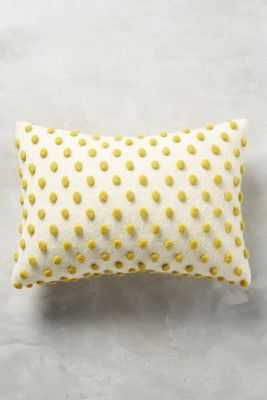 """Woolen 14"""" x 20"""" Pom Pillow - Chartreuse & ivory - With insert - Anthropologie"""