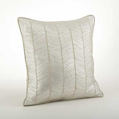 Metallic Herringbone Design 20 inch Down Filled Throw Pillow - Overstock