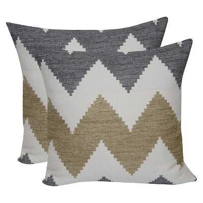 Zig Zag Jacquard Throw Pillow with Suede Back  18x18 with insert - Target