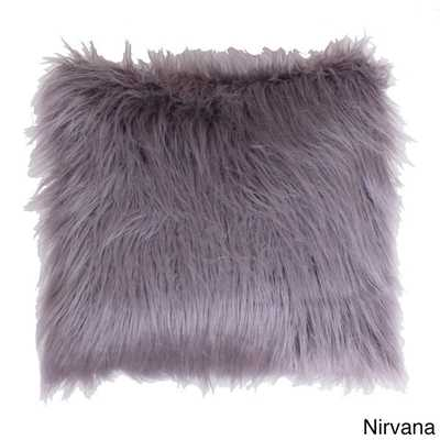 """Keller Faux Mongolian Square Throw Pillow, Nirvana - 16""""x16"""" - Polyester fill - Overstock"""