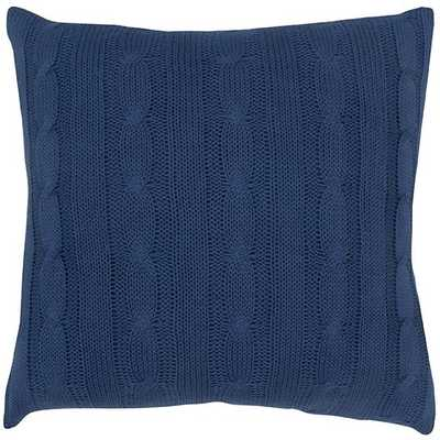 """Cable Knit Decorative Pillow- Navy, 18 x 18""""-With insert - Home Decorators"""