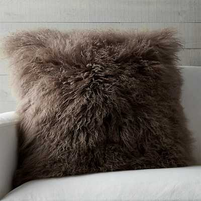 "Pelliccia Mushroom Brown 23"" Pillow with Down-Alternative Insert - Crate and Barrel"