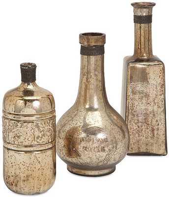 ARI GLASS BOTTLES - SET OF 3 - Home Decorators