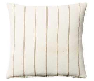 "Striped 20""x20"" Cotton Pillow- Cream - Feather/Down Insert - One Kings Lane"