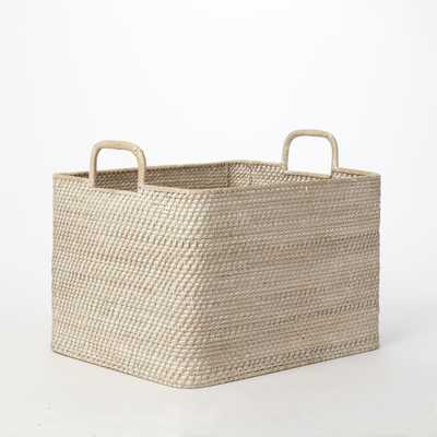Modern Weave Oversized Storage Bin - Whitewash - West Elm