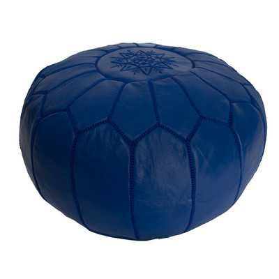 Leather Embroidered Ottoman-Blue - Wayfair