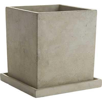 Concrete pot with saucer - CB2