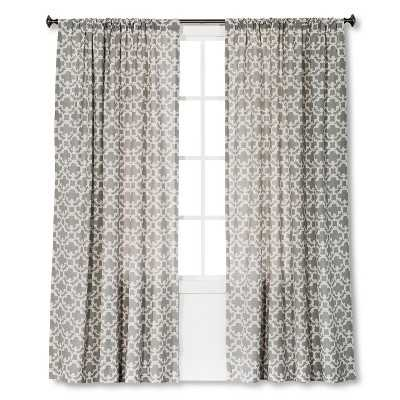 "Thresholdâ""¢ Farrah Fretwork Curtain Panel - 54"" x 95""; Gray - Target"
