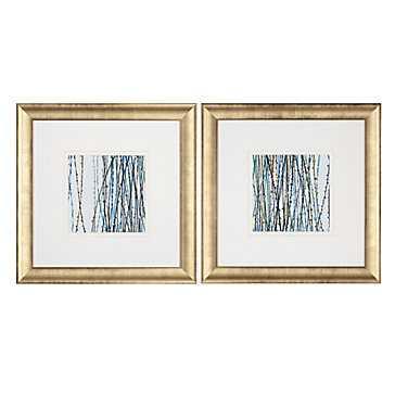 Blue Sensations - Set of 2 - 28x28 - Framed - Z Gallerie