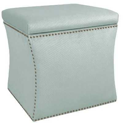 Skyline Upholstered Nail Button Storage Ottoman - Velvet pool - Target