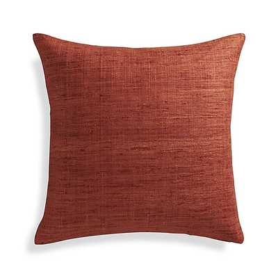 """Trevino Terra Cotta Orange Pillow - 20"""" sq, with feather insert - Crate and Barrel"""