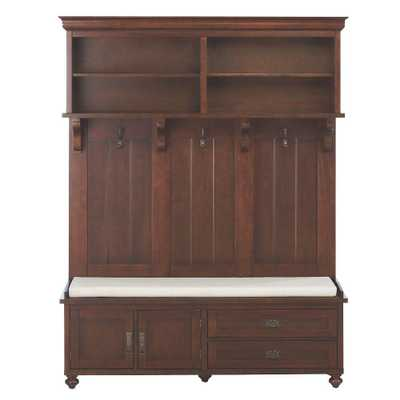 Vernon 78 in. H x 60.75 in. W Hall Tree in Smokey Brown - Home Depot