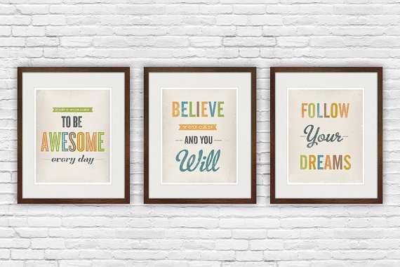 Retro quote print - Set of 3 - Etsy