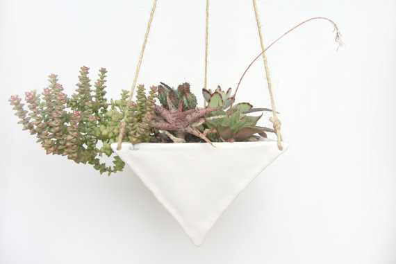 Large White Porcelain Hanging Triangular Planter - Etsy