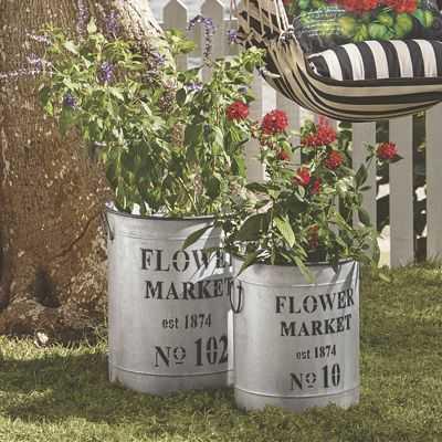 Set of 2 Market Flower Buckets - countrydoor.com