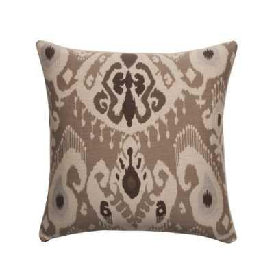 Ikat Designer Pillow - Taupe  - 18x18 - Poly Insert - Wayfair