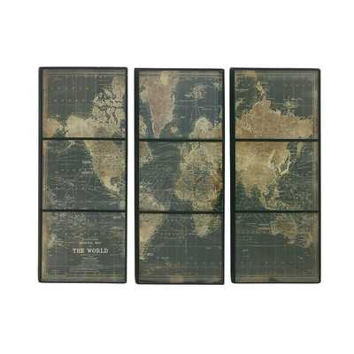 'World Map' 3 Piece Graphic Plaque Set - unframed - Wayfair