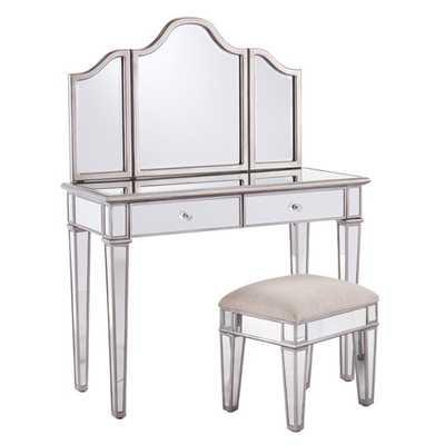 2-Piece Kaila Mirrored Vanity & Stool Set - AllModern
