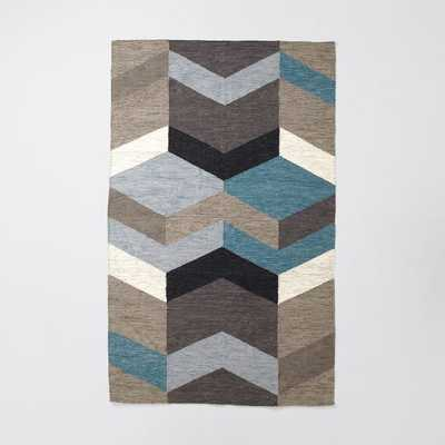 Mid-Century Geo Wool Kilim - 5'w x 8'l - West Elm
