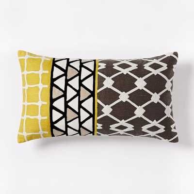 """Crewel Linked Tile Pillow Cover - Slate- 12""""w x 21""""l- Insert Sold Separately - West Elm"""