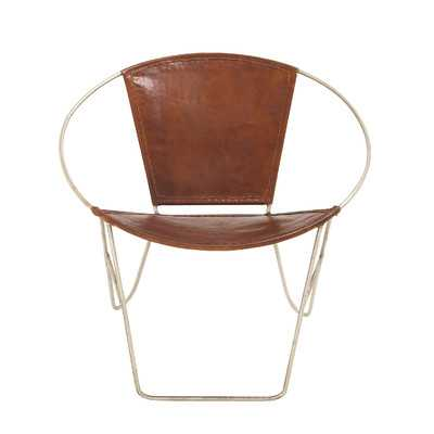 Woodland Imports Metal Leather Arm Chair - Wayfair