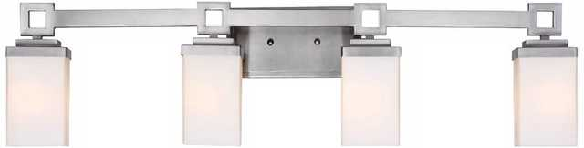 "Nelio 33 1/2"" Wide 4-Light Pewter Opal Glass Bath Light - Lamps Plus"