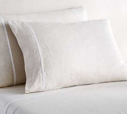 BELGIAN FLAX LINEN CONTRAST FLANGE SHEET SET- King-NATURAL - Pottery Barn