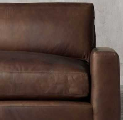 "MAXWELL LEATHER SOFA - 8' length, Burnham leather in cognac, 40"" classic depth, Standard fill - RH"