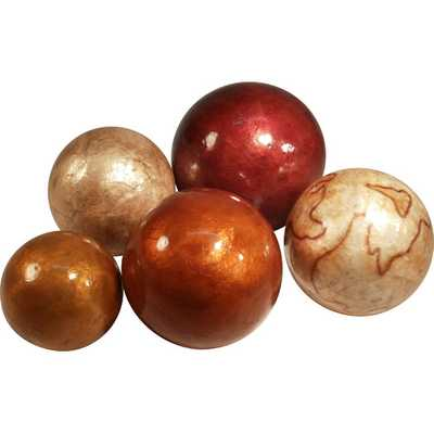 5 Piece Assorted Sizes Capiz Shell Ball Set - AllModern