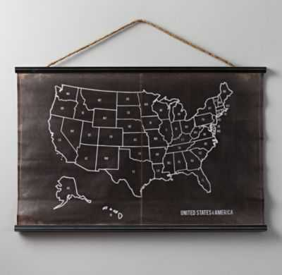 usa chalkboard map - RH