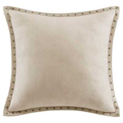 "Stud Trim Suede Square Pillow -20"" W x 20"" -Insert included - Target"