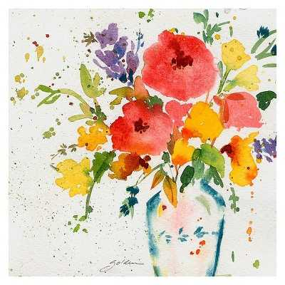 "Sheila Golden 'White Vase with Bright Flowers' Canvas A-24.0 "" H x 24.0 "" -Unframed - Target"