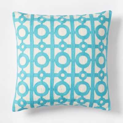 "Crewel Circle Lattice Pillow Cover - 18""sq. - Insert not included - West Elm"