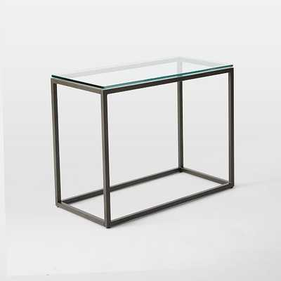 Box Frame Narrow Side Table - Glass/Antique Bronze - West Elm