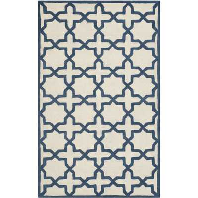 Cambridge Ivory / Navy Area Rug - Wayfair
