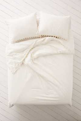 Magical Thinking Pom-Fringe Duvet Cover - Ivory - Full/Queen - Urban Outfitters