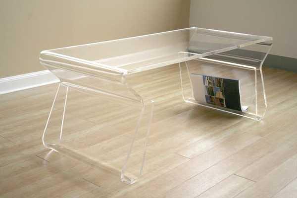 BAXTON STUDIO ACRYLIC COFFEE TABLE WITH MAGAZINE RACK - Lark Interiors