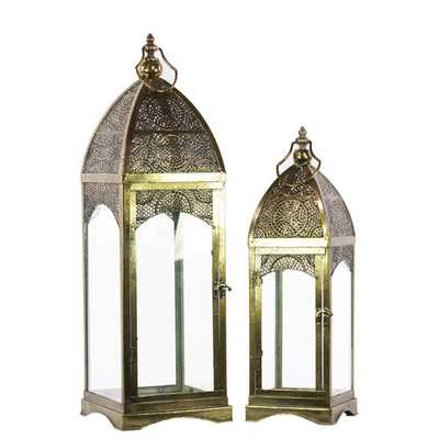 Metal Lantern with Ring Hanger, Glass Sides and Square Base Set of Two - Wayfair