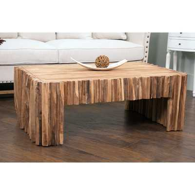 Decorative Lakeside Modern Tan Rectangle Coffee Table - Overstock