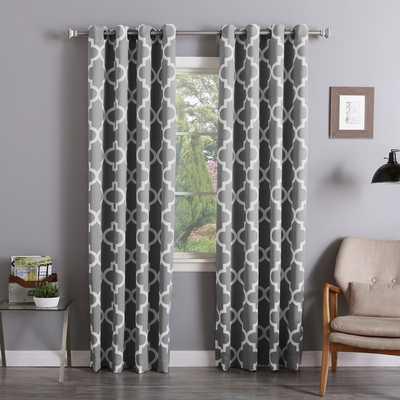 Aurora Home Moroccan Tile Room-Darkening Curtain Panel Pair - grey - Overstock