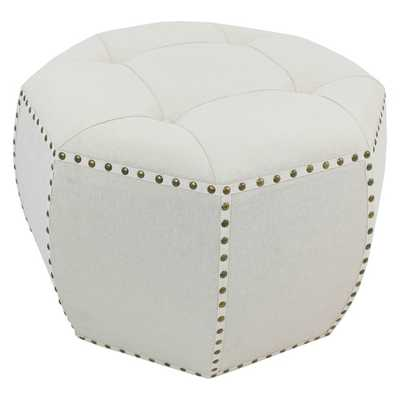 27-inch Natural Octagonal Button Tufted Ottoman - Overstock