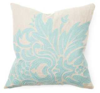 Floral 18x18 Linen Pillow, Teal - Feather/down insert - One Kings Lane