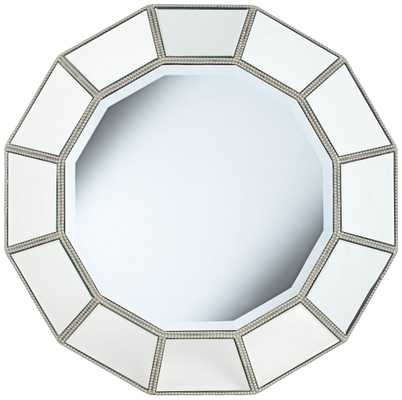 "Palanco Silver Panel 33"" Round Convex Wall Mirror - Lamps Plus"