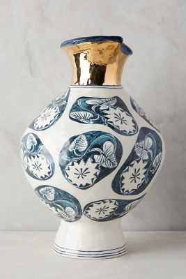 Dreambirds Vase -Navy, Wide - Anthropologie