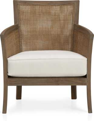 Blake Grey Wash Chair with Fabric Cushion - Snow - Crate and Barrel