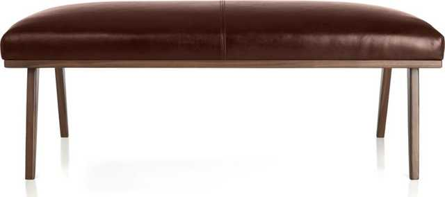 Cavett Leather Bench - Amaretto - Crate and Barrel