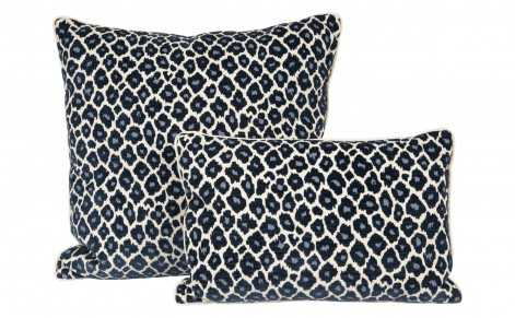 "NAVY LEOPARD PILLOWS - 14"" x 20"" - down and feather insert - Jayson Home"